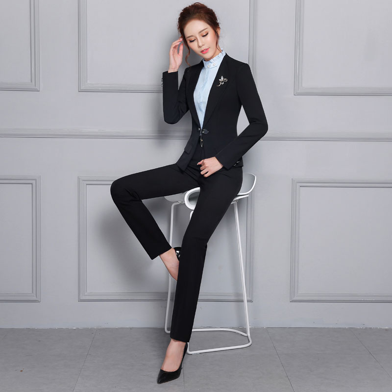 Plus Size Novelty Black Formal Uniform Design Career Work Wear Suits With Jackets And Pants Female Pantsuits Ladies Trousers Set