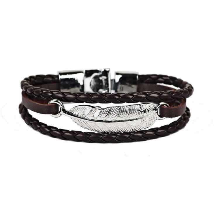 2017 Hot wysokiej jakości bransoletka nieskończoność bransoletka prawdziwej skóry ręcznie łańcuch klamra przyjaźni bransoletka męska i damska drop shipping
