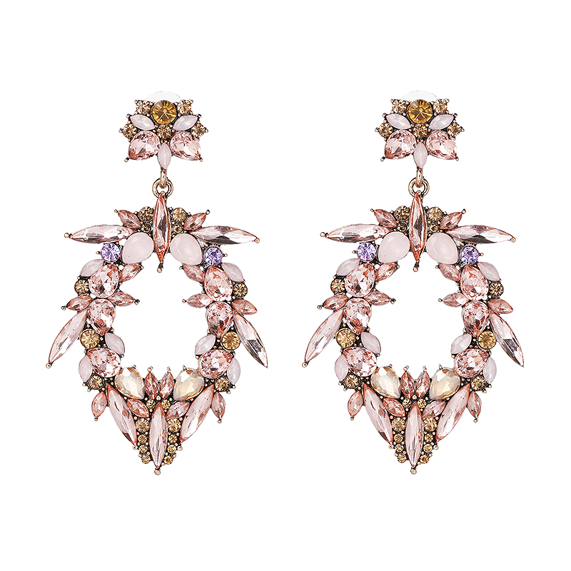 3091a9566055 AOMU 2018 Nueva Corea moda grande transparente cristal flores perlas largo  borla pendientes de gota para