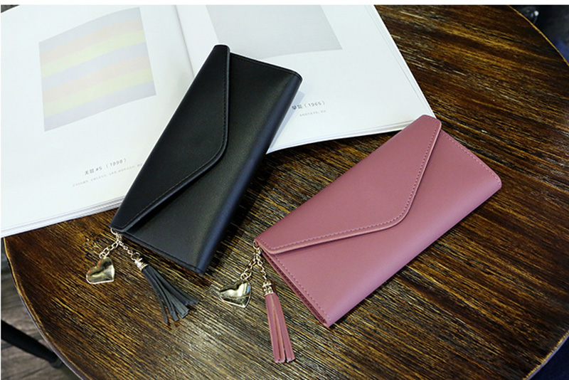 Women Long Wallet Purses Leather Wallet Tassel Female Coin Purses Card Holder Ladies Wallets High Quality Clutch Purse Money Bag