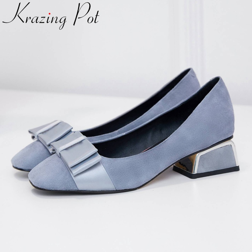Krazing Pot genuine leather butterfly knot decoration low heels office lady party pumps Spring brand square