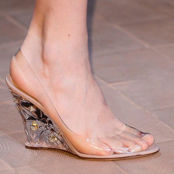 Abesire New Hot Women PVC Transparent Leather High Wedges Cinderella Crystal Wedding Dress Shoes Lady Peep Toe Slip on Sandals