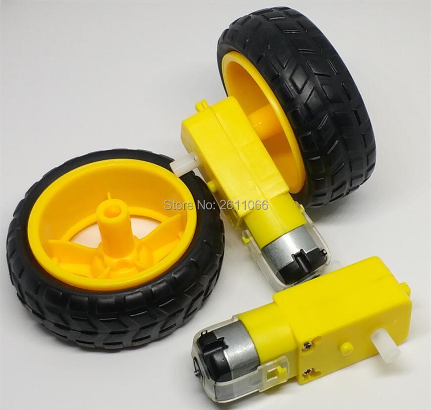 4pcs TT Motor 130motor with the wheel 2pcs TT motor+2pcs 65mm wheel Smart Car Robot Gear Motor DC3V-6V DC Gear Motor for Arduino