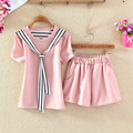 New 2016 Summer cute short sleeve shirt casual shorts 2-piece set women slim crop top and shorts set  JN297