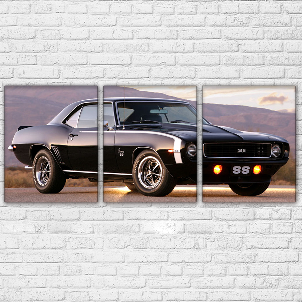 Canvas Paintings Wall Art Prints Home Decor 3 Pieces Black Deluxe Sports Car Pictures Vehicle Poster For Living Room Framework