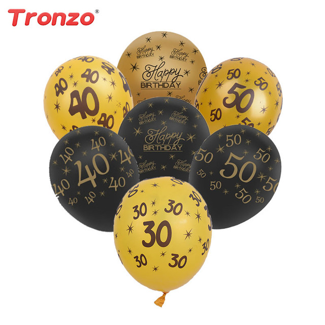Tronzo 10Pcs 12Inch Happy Birthday Balloons Gold Black 30th 40th 50th Party Decoration DIY Wedding