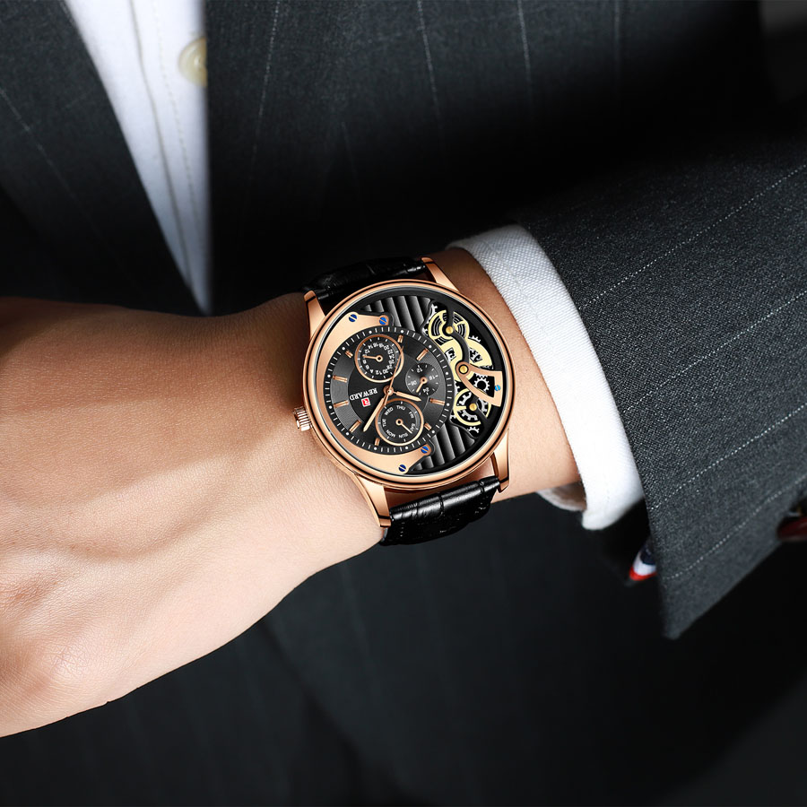 2019 New Dress Business Watch Men Fashion Casual Brown Leather Strap Mens Watches Top Brand Luxury Unique Quartz Wristwatch