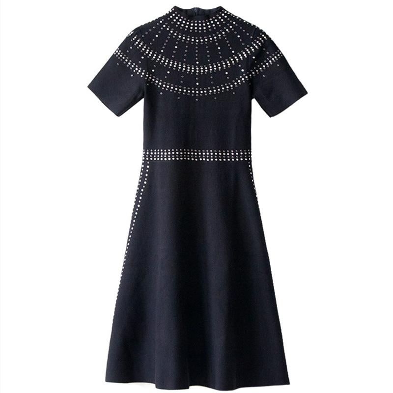 Women Dress Knitted Zippers Robe Hot Drilling Vestido Elegant Bodycon Dress Runway Slim Short Sleeve Pullover