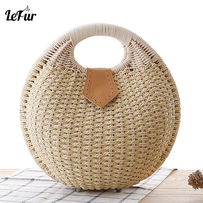 Summer Purse Clutch-Handbag Rattan-Bag Buckle Handmade Bolsa-Feminina Women LEFUR
