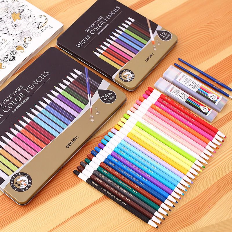 DN12/24 Press Drawing Water Soluble Colored Pencil Contains a Brush Pen Iron Boxed Lapis De Cor For School Art Student Supplies 12 18 36 48colors students prize creative gifts lead free avoid cut wood thick core color pen water soluble colored pincel art