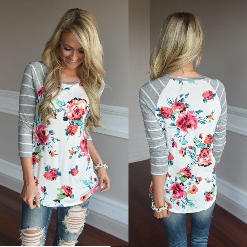 2017 New Fashion Women Loose Long Sleeve Cotton Casual font b Blouse b font Flower print