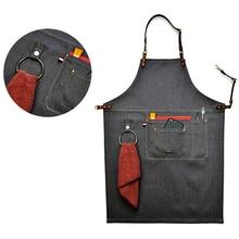 2017 Senior Denim cowboy BBQ Schürze Lätzchen Lederriemen Küchenschürze für Frauen Männer Friseur-und kochen Restaurant Kellnerin Print Logo