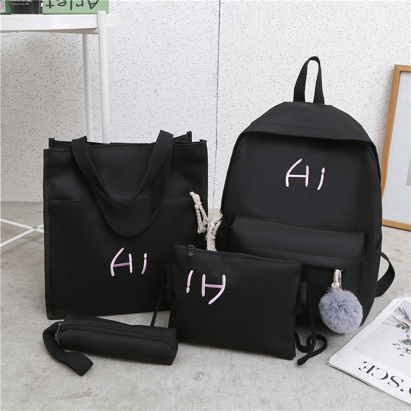 Schoolbag Backpack Grils Fashion Mochilas New Casual Letter Pendant Mujer Women 4set