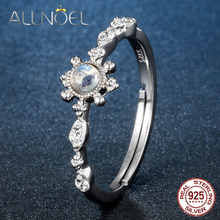 купить ALLNOEL 925 Sterling Silver Rings For Women Natural Moonstone Blue Topaz Peridot  Sweet Ring  Rose /White/ Yellow/Gold Silver дешево