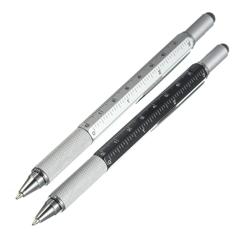 4 Pcs Metal + Plastic Tool Ballpoint Pen Screwdriver Ruler Spirit Level With A Top And Scale Multifunction