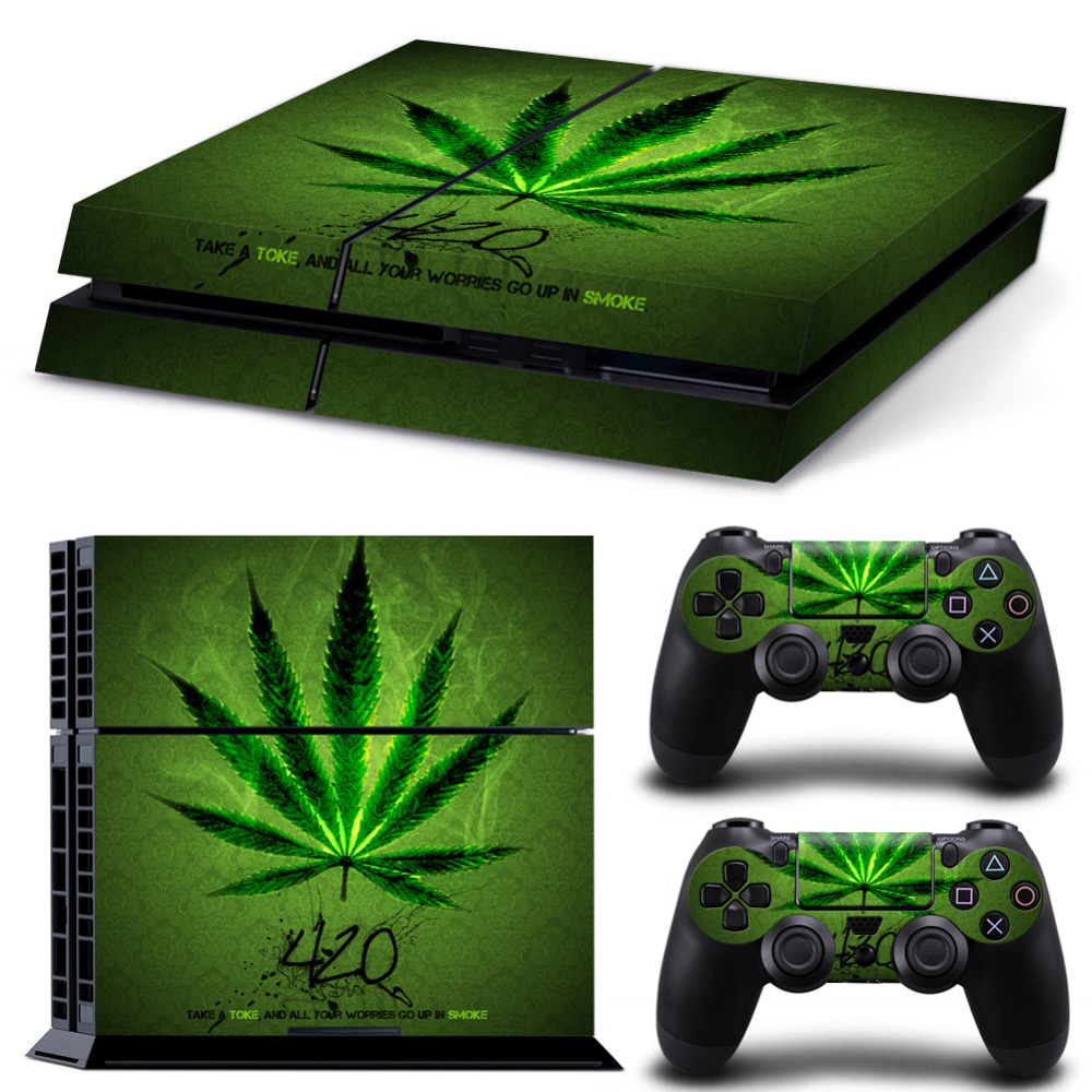 Крышка стикера кожи винила Weed для консоли PS4 и 2pc контроллера Наклейка для двойного шока 4 управления для PlayStation 4 аксессуары