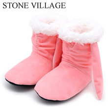 STONE VILLAGE New Arrival Winter Warm Plush Home Slippers Cute Ear Soft Comfortable Women