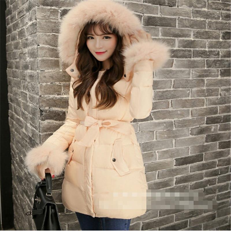 New 2015 Winter Women Thicken White Coat Warm Long Fox Fur Coat Slim Women Parka Coat Women Jackets L~4XL LJ3421