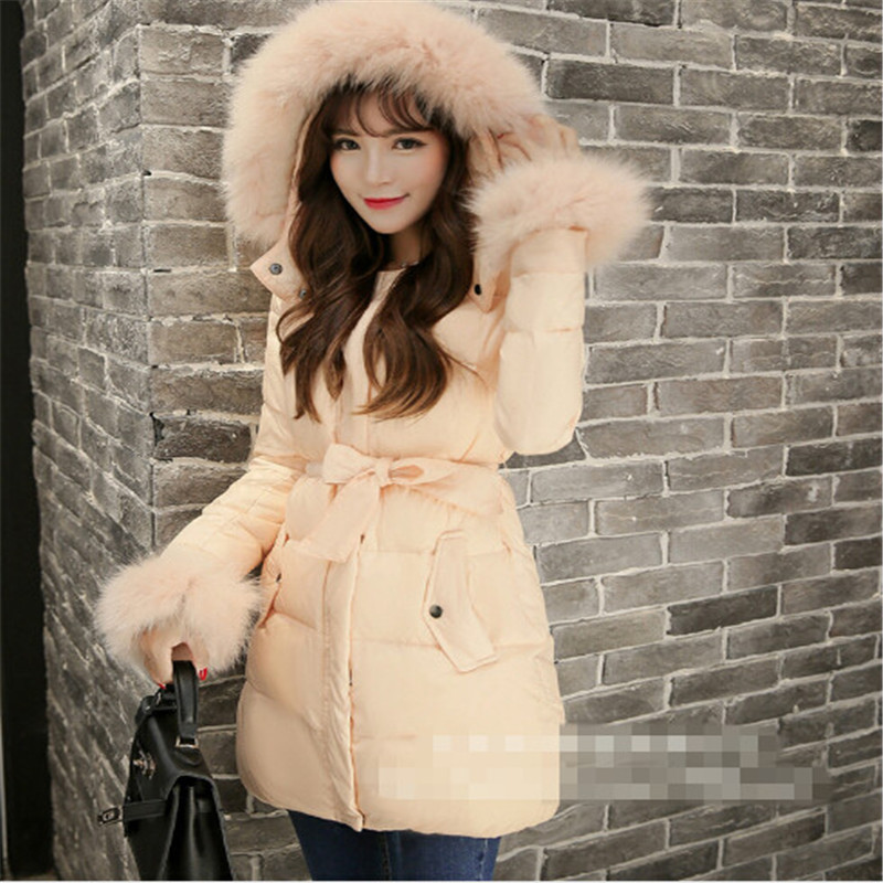 2015 Winter Women Thicken White Coat Warm Long Fox Fur Slim Parka Jackets L~4XL LJ3421