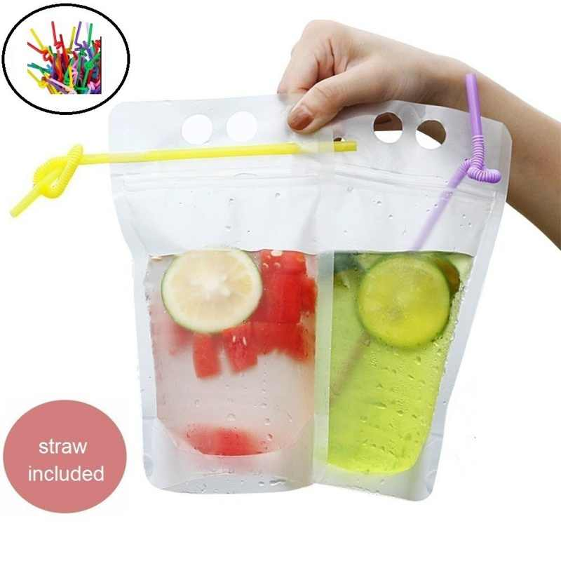 50PCS Disposable 500ml Juice Coffee Liquid Bag Vertical Zipper Seal Drink Bag Clear Drink Pouches With Straw Party Tableware