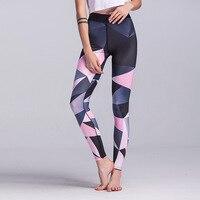 Wysokiej Jakości Cyfrowy Wydrukowano Stretch Fitness Legginsy damskie Ombre Geometryczne Treningu Sportowego Ruch Spodnie Damskie Legginsy