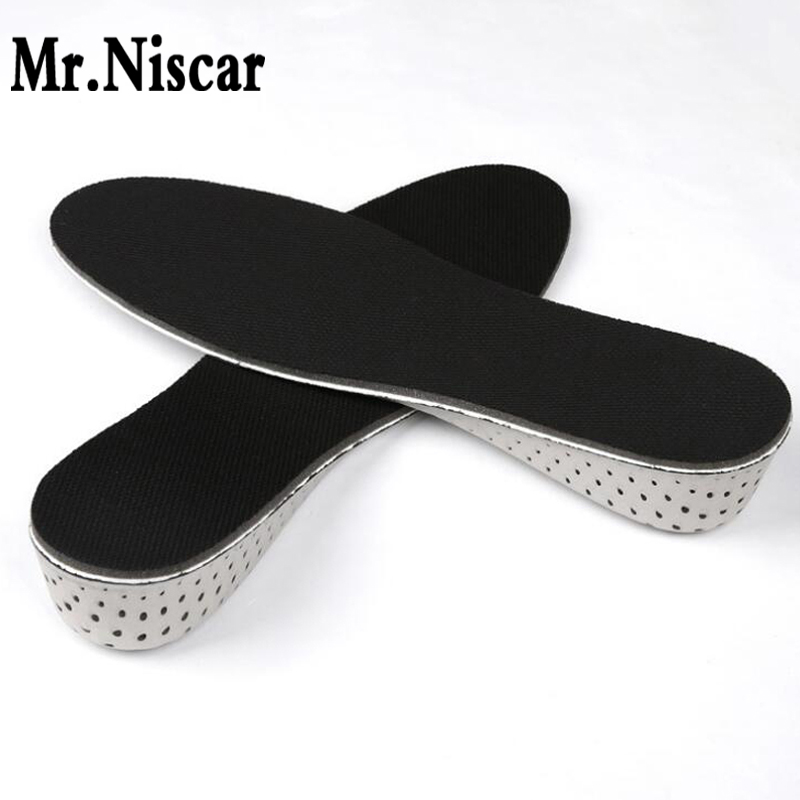 цены Mr.Niscar 1 Pair Breathable 3-Layer 7CM Air Bubble Cushion Shoe Lift Height Increase Heel Insoles Taller Women shoe insole Black