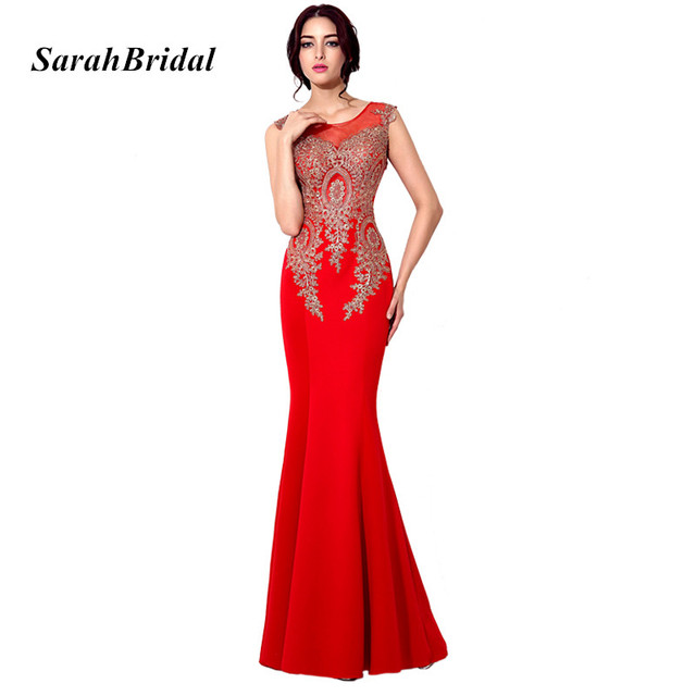 Long Red Mermaid Prom Dresses 2017 Gold Lace Applique Illusion Back ...