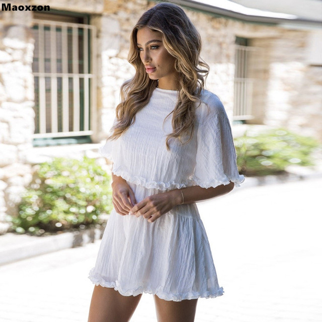 819b8bbc5b1b Maoxzon Women Fashion Loose Beach Vacation Dresses For Woman 2018 New  Summer Ruffles Short Sleeve High Waist Big Hem White Dress
