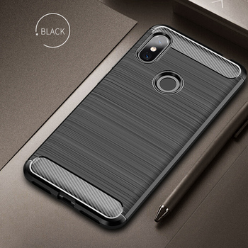 For Xiaomi Redmi Note 6 Pro Case Soft Silicone Brushed Carbon Fiber Texture Xiomi Redmi Note6 Rugged Armor TPU Phone Cases Cover