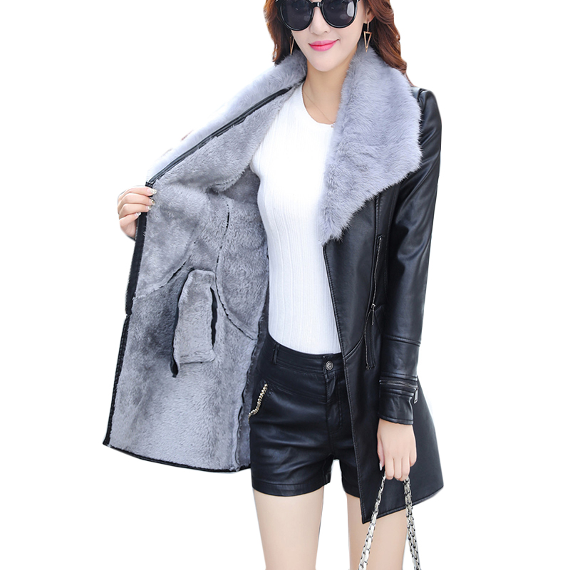 Plus Size 3XL Fur Collar Women Long   Leather   Jacket Coat Female Winter Long Sleeve   Suede   Fur Jacket Women Bow Motorcycle Jacket