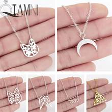 QIAMNI Multicolor Lovely Cat Animal Moon Triangle Flower Wings Heart Pendant Necklace for Women Girls Lovers Gifts Jewelry Charm(China)