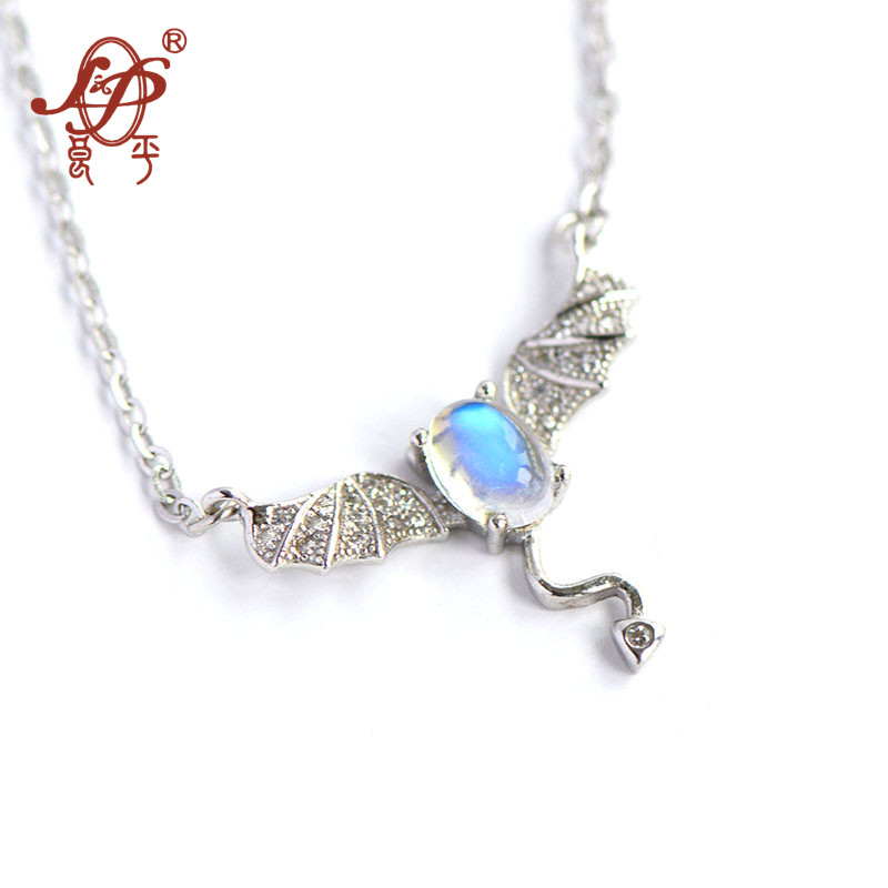 2018 Hot Sale Nepal 925 Sterling Inlaid Natural Moonstone Little Devil Pendnat&necklace For Women Pendant Necklace Fine Jewels hot sale special shape pendant women s necklace