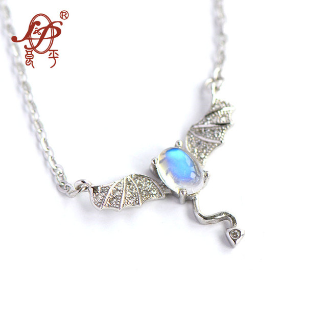 2018 Hot Sale Nepal 925 Sterling Inlaid Natural Moonstone Little Devil Pendnat&necklace For Women Pendant Necklace Fine Jewels