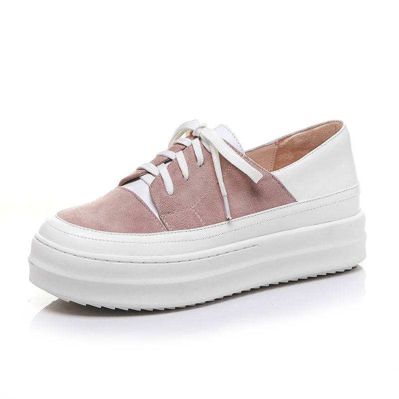 Lenkisen new bassic round toe concise preppy style lace up causal shoes med heels spring summer party women vulcanized shoes L77