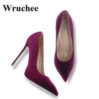 Wruchee dress shoes high heels shoes woman pointed toes velvet wine red big size 42 thin heels 12cm