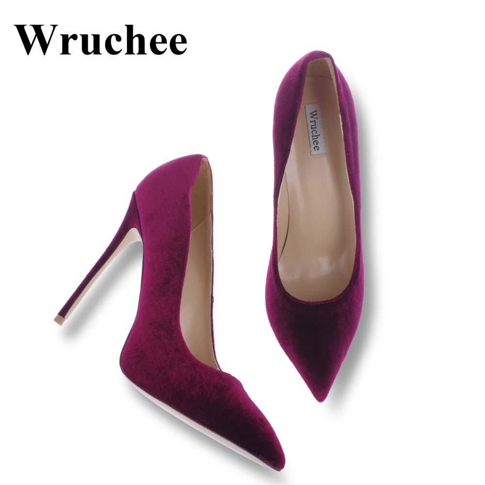 Wruchee dress shoes high heels shoes woman pointed toes velvet wine red big size 42 thin heels 12cm(China)