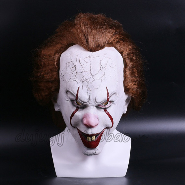 Pennywise masks from IT Stephen Kings it Horror movies Slasher Films Smiley Joker Jinx the Clown Killers Scary Mask Latex Horror