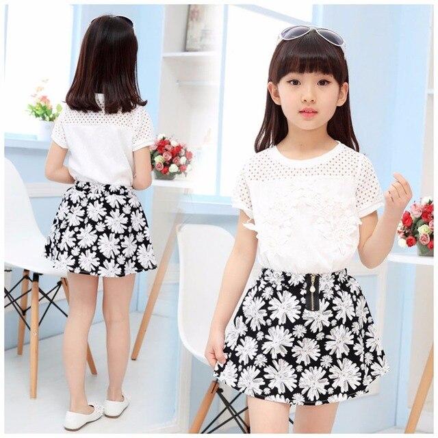45ba753cde6 Été Bébé Fille Vêtements Princesse Dentelle Fleur Blanc Chemises avec  Imprimé Mignon Jupes Costumes Enfants Robe