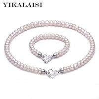YIKALAISI 2017 Nouveau Naturel Perle ensemble de bijoux pour les femmes 8-9mm perle Collier Bracelet 925 bijoux en argent sterling pour les femmes cadeau