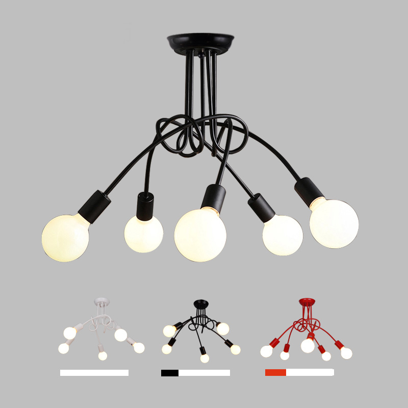 ФОТО Wrought iron 3 heads 5 heads Multiple rod ceiling dome lamp creative personality retro nostalgia cafe bar ceiling light fixtures
