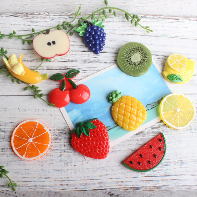 10 Pcs Fruit Fridge Magnet Home Decoration Grape Pineapple Cherry