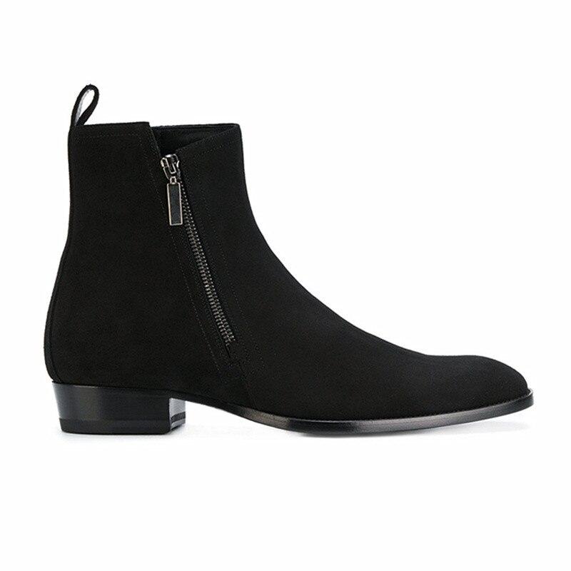 Rits koe lederen zwarte klassieke: reizen banket mannen laarzen zomer herfst All matching veiligheid wees teen laarzen - 3