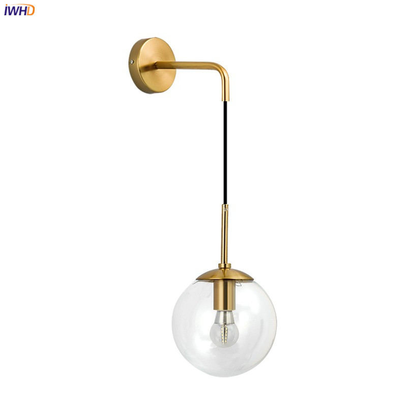 IWHD Or Nordique LED Mur Lampe À Côté de la Chambre Salon Salle De Bains Boule De Verre Mur Luminaires Wandlamp Applique Murale