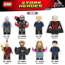 Legoing Figures Avengers super Heroes Thanos Vision Captain America Kraglin Starhawk Building Blocks Figurines Toys for Children(China)