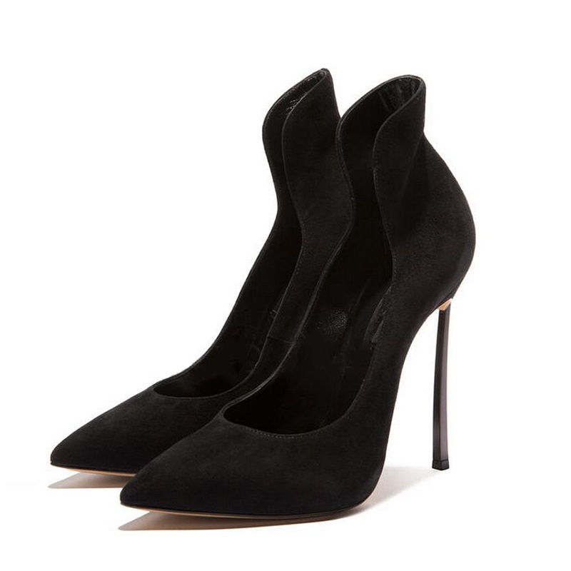 Fashion Sexy Women High Heel Pumps Pointed Toe Metal Heels Shoes Newest Shallow Black Spring Office Shoes allbitefo full genuine pointed toe high heels women pumps fashion sexy buckle thick heel office shoes spring high heel shoes