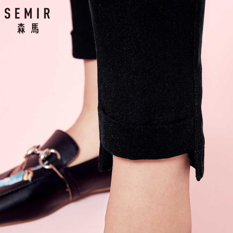 SEMIR kobiet legginsy miękkie tkanina bawełniana spandex Stretch elastyczne spodnie w pasie przednie kieszenie już powrót