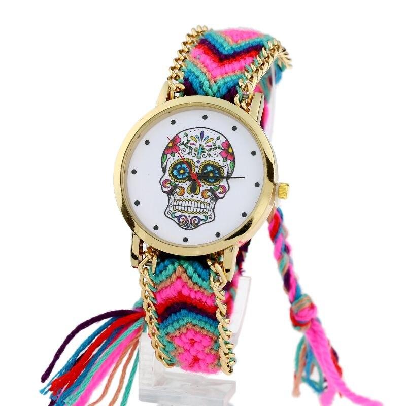 Gnova platinum Watch Women vintage Mexican Catrina Style Skull Fashion wristwatch Lace Golden Braided Chain Reloj