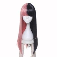 Ccutoo 女性のメラニーマルティネス合成半分黒とピンク 8 小さな組紐髪コスプレ衣装ウィッグ耐熱性繊維