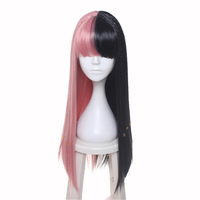 ccutoo Female's Melanie Martinez Synthetic Half Black and Pink 8 Small Braids Hair Cosplay Costume Wigs Heat Resistance Fiber