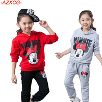 2016 Autumn New Arrival Girls Minnie Print Clothing Set 2pcs Long Sleeve Sweater Pant Kids Cotton